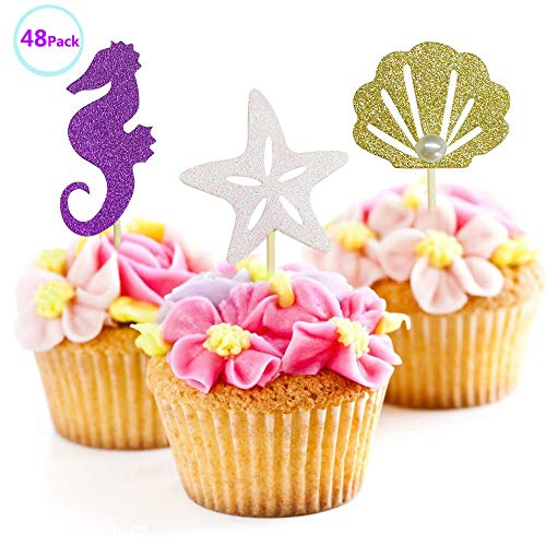 (Suhome Mermaid Themed Cake Decoration Glitter Sea Horse/Starfish/Mermaid Tail/Seashell Cake Toppers for Baby Shower,Wedding, Birthday Party Supplies (48 Pack))