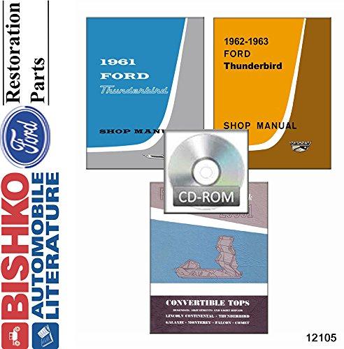 bishko automotive literature 1961 1962 1963 Ford Thunderbird (w/Convertible Tops Manual) Shop Manual CD OEM