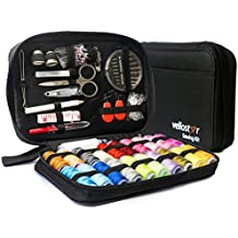 SEWING KIT– Premium Set with Over 100 Accessories & 24 Mixed Color Threads, for Emergency Sewing Repairs at Home, in the Office & Travel Trips, Beginner Mini Sew Kits For Mending & DIY Crafting, Black