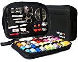 Arts & Crafts : SEWING KIT– Premium Set with Over 100 Accessories & 24 Mixed Color Threads, for Emergency Sewing Repairs at Home, in the Office or Travel Trips, Beginner Mini Sew Kit For Mending & DIY Crafting, Black