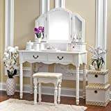 white makeup vanity Fineboard Elegant Vanity Dressing Table Set Makeup Dressing Table with 3 Mirrors and Stool, White