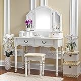 white makeup vanity set Fineboard Elegant Vanity Dressing Table Set Makeup Dressing Table with 3 Mirrors and Stool, White