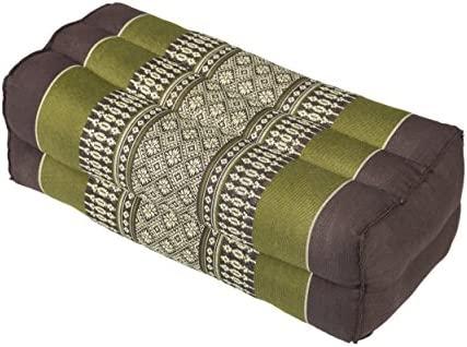 Bloque de yoga para la meditación (35x15x10 cm, cojín de soporte con relleno de kapok), diseño tradicional marrón y verde