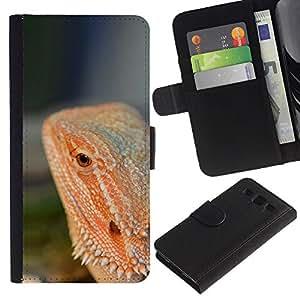 LASTONE PHONE CASE / Lujo Billetera de Cuero Caso del tirón Titular de la tarjeta Flip Carcasa Funda para Samsung Galaxy S3 III I9300 / Lizard Red Tropical Rainforest Nature Animal