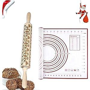 a ray of sunshine Mattarello Decorativo Natale,Mattarello in Legno Incisione Natale,Rolling Pin per Biscotti,Mattarello Inciso per Biscotti,Goffratura Mattarello,Natale Mattarello Legno 4 spesavip