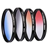 ZOMEI 58mm PRO Optical Graduated Gradual ND Color Filter Kit - Red Blue Orange Gray