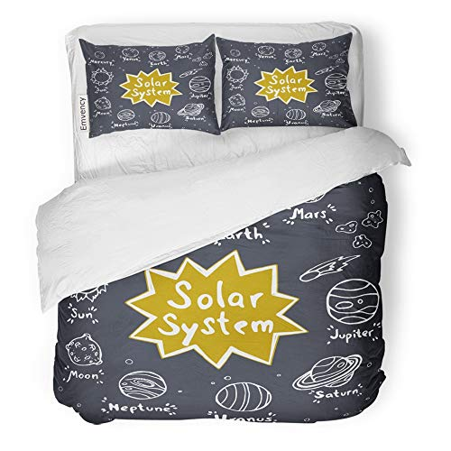 Emvency 3 Piece Duvet Cover Set Brushed Microfiber Fabric Breathable Doodle Planets Sun Comet and Meteorites Solar System Purple Childish Space Bedding Set with 2 Pillow Covers King ()