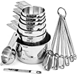 Hudson Essentials Stainless Steel Measuring Cups and Spoons Set - 14 Piece Stackable Set with 2-Cup