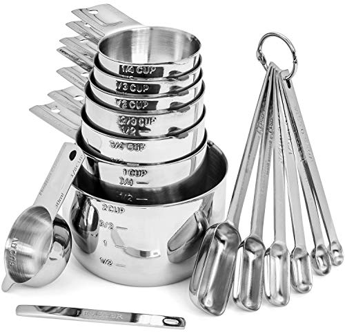 Measure 2 - Hudson Essentials Stainless Steel Measuring Cups and Spoons Set - 15 Piece Stackable Set with 2-Cup