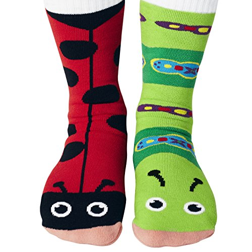 Womens Funky Ladybug and Caterpillar Mismatched Friends Socks