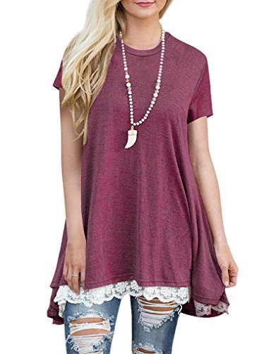 OURS Womens Plus Size Short Sleeve Lace Shirt Blouse Summer Tops Wine Red XL (Tunic Long Lace)