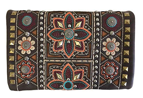 American Bling Montana West 4-Way Clutch Wristlet Crossbody Purse Bling Colorful Flowers Coffee ()