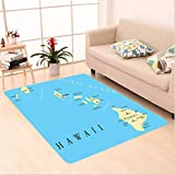 Nalahome Custom carpet on Map of Hawaii Islands with Capital Honolulu Borders Important Cities and Volcanoes Image Blue area rugs for Living Dining Room Bedroom Hallway Office Carpet (5' X 8')