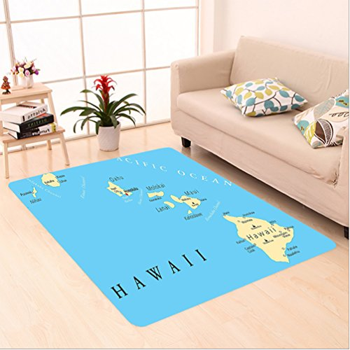Nalahome Custom carpet on Map of Hawaii Islands with Capital Honolulu Borders Important Cities and Volcanoes Image Blue area rugs for Living Dining Room Bedroom Hallway Office Carpet (5' X 8') by Nalahome