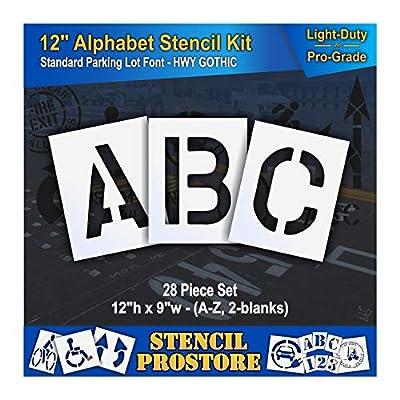 """Pavement Stencils - 12 inch Alphabet KIT Stencil Set - (28 Piece) - 12"""" x 9"""""""