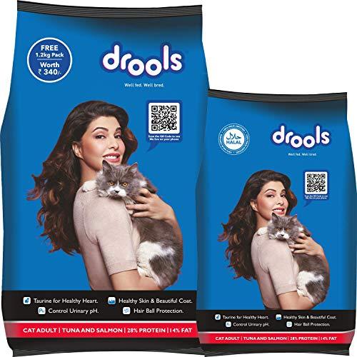 Drools Adult (+1 Year) Dry Cat Food, Tuna & Salmon, 3kg + 1.2kg Free