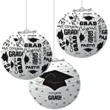 School Colors Graduation Party Congrats Grad! Printed Round Lanterns, Ceiling Decorations, White and Black, Paper, 9'', Pack of 6