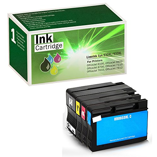 Limeink Compatible Ink Cartridge Replacements 932XL & 933XL High Yield (1 Black / 1 Cyan / 1 Yellow / 1 Magenta, 4 Pack)