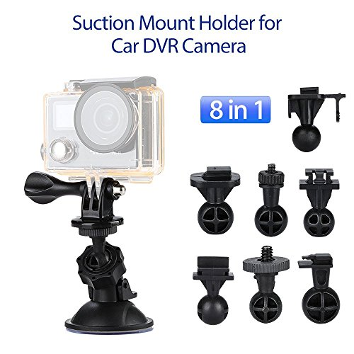 Car Dash Camera Mount Holder Vehicle Video Recorder Windshield & Dashboard Suction Cup Bracket Compatible G1W G1W-C G1W-B LS300W YI Git2P, Suitable for Most Pupular Cam