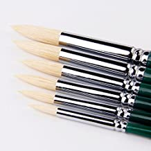 Bristle Pointed Round Brush Art Paint Brushes For Acrylic,Oil,Watercolor Painting Supplies,Set of 6 Artist Brushes.