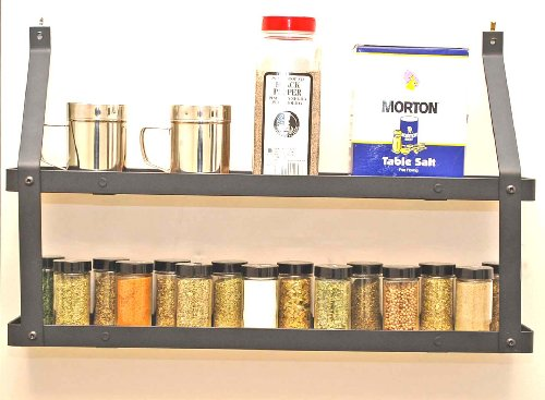 Two Tier Spice Rack: Black & Lacquered Natural Wood
