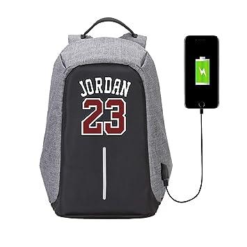Lorhs store Estilo Simple Jugador de Baloncesto Estrella Michael Jordan antirrobo Multifuncional Mochila fanáticos de Viaje Mochila Escolar para ...