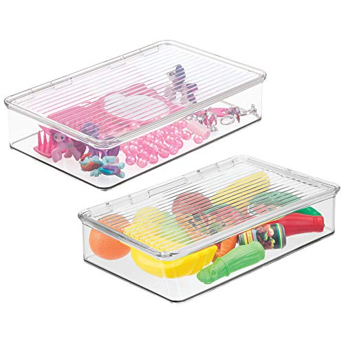 mDesign Slim Stackable Toy Storage Bin with Hinged Lid - Playroom Plastic Organizer for Kid/Child Cars, Barbie Dolls, Baby Doll Clothes, Puzzles, Army Men, Building Blocks - BPA free, Pack of 2, Clear