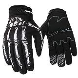 Panegy Mens Womans Skeleton Bones Anti-slip Full-Finger Cycling Gloves for Outdoor Sports White Size - L