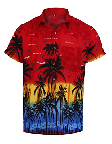 Virgin Crafts Hawaiian Shirt for Men Casual Button Down Summer Vacation Beach Alloha Shirt -