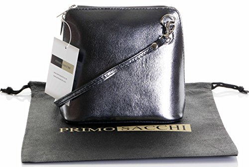 Italian Leather, Pewter Grey Small/Micro Cross Body Bag or Shoulder Bag Handbag. Includes Branded a Protective Storage Bag.