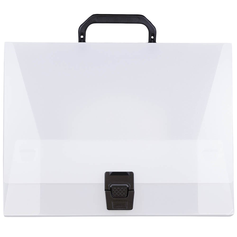 JAM Paper Plastic Portfolio Briefcase with Handles - Wide - 12 3/4'' x 9 1/2'' x 3'' - Clear - Sold Individually