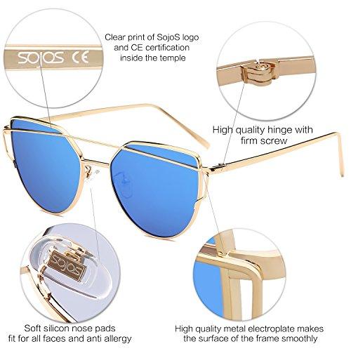 SojoS Cat Eye Mirrored Sunglasses - Paloma Soriano