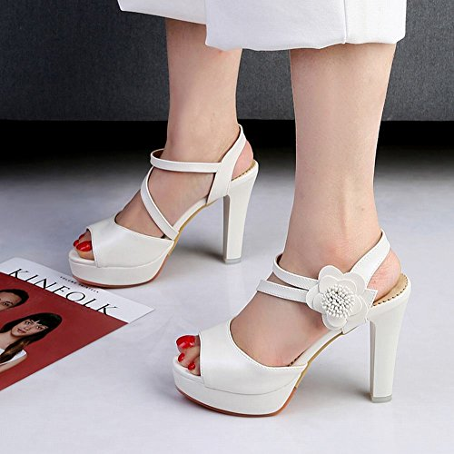 Tacco Sandalo Da Shoes Alto Fiore Mee Donna Con E Plateau Bianchi Sandali HCwXcgq