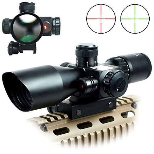 Rifle Optics 2.5-10x40 Hunting Red/Green Laser with Red Dot Scope Combo Airsoft Gun Weapon Sight by IRON JIA'S