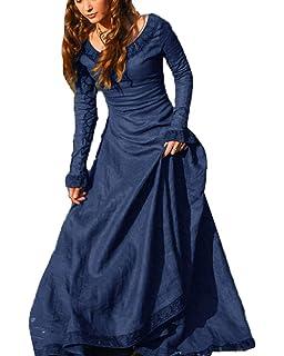 Cinnamou Disfraz Mujer Medieval Vestido Maxi de Princesa Elegantes Fiesta Ropa de Ancho Manga Largas para Damas Blusa de Europa Central y Cuello Redondo