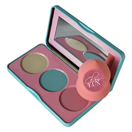 Glam Lux Bundle Beauty Creations Sweet Glow Highlight Palette Shimmer 3 shades of Glow Candy Scented Ultra Pigmented Mineral Pressed Highlighter Face Make up & Glam Lux Beauty Blender (Scented Blush)