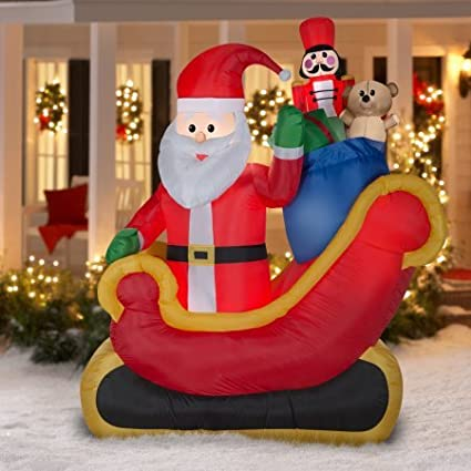 airblown inflatable santa sleigh with gifts scene 75ft tall outdoor decoration - Santa Sleigh Outdoor Christmas Decorations