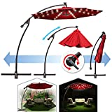 BenefitUSA 9' Cantilever 40 LED Light Patio Umbrella Outdoor Garden Sunshade (Burgundy)