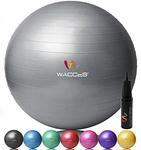 Wacces Anti-Burst Fitness Exercise Stability and Yoga Ball with Pump ( Gray - 75 CM )