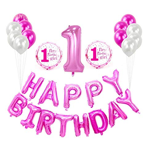 (Pink 1st Girl Birthday Party Decorations 1st Birthday Girl Decorations Happy Birthday Balloons Banner, Blue and White Latex Balloons Number 1 Foil Balloon, 1st Birthday Party Balloons)