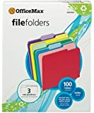 OfficeMax Colored File Folders, Letter, 1/3 Cut, 20 Assorted Colors, 100/Box