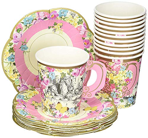 Talking Tables Truly Alice Alice in Wonderland Mad Hatter Party Cup Set with Handle and Saucers in 3 Designs for a Tea Party or Birthday (2 Pack) -