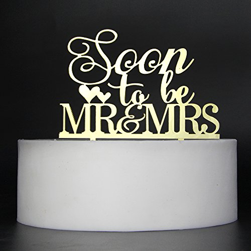 LOVELY BITON Gold Soon to Be Mr&Mrs Cake Topper Shining Numbers Letters for Wedding, Birthday, Anniversary, -