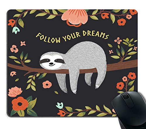 Smooffly Gaming Mouse Pad Custom,Follow Your Dreams Mouse pad Cute Baby Sloth on The Tree Personality Desings Gaming Mouse Pad