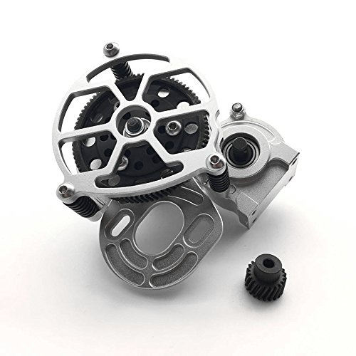 - RC Car 1/10 Alloy Transmission Case Center Gearbox & Helical Gear for RC Crawlers 1:10 Axial SCX10 AX10 Silver