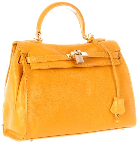 Co-Lab by Christopher Kon Rebecca 1373 Satchel,Mustard,One Size, Bags Central