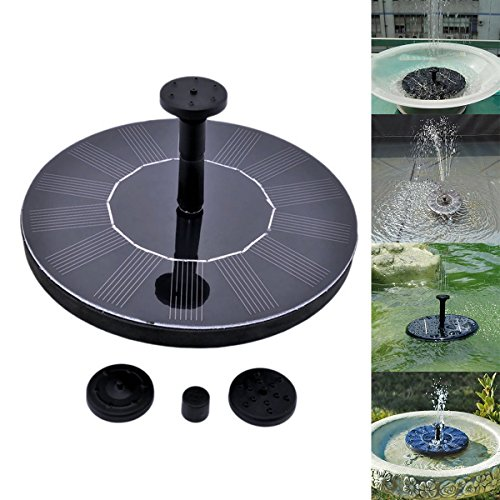OWIKAR Solar Power Water Pump, 7V 1.4W Fountain Bird bath Pump Floating Floating Drifting Panel Pool Pond Solar-powered, Decoration for Pond, Pool, Garden, Fish Tank, Aquarium by OWIKAR
