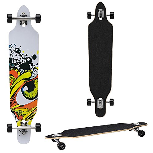 Longboard von [pro.tec] (104 x 23 x 9.5 cm) - ABEC 7-Kugellager - Skateboard / Dropped Through/ Freeride Board / Cruising Board / Retro Board ? Farbe: grau ? schwarz - gelb
