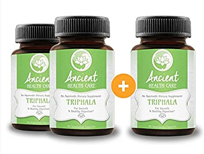 Highest Potency Triphala - 90 Tablets - 90mg - 40% Tannins - Contains Amalaki, Haritaki and Bibhitaki - Best Digestive, Cleansing, Weight Loss Supplement Herb - 3 Pack - by Ancient Health Care