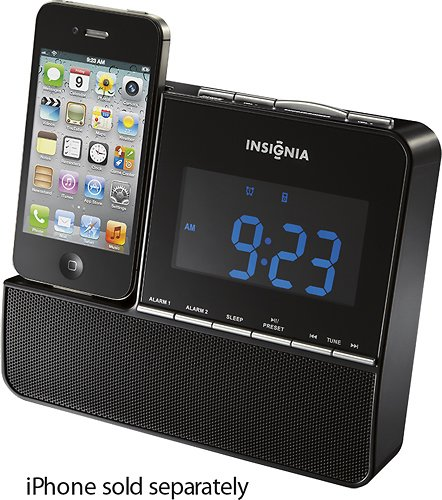 Insignia NS-CLIP01 FM Digital Alarm Clock Radio iPod iPhone Dock by Insignia